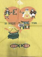 Vintage Gabe Josephson Rebus Tea Towel Yellow Many a Couple is Made in the