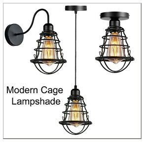 Modern Cage Ceiling Lamp Vintage Industrial Retro Loft Shade Pendant Light