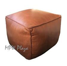 MPW Plaza Square Pouf, Brown, Moroccan Leather Ottoman (Stuffed)