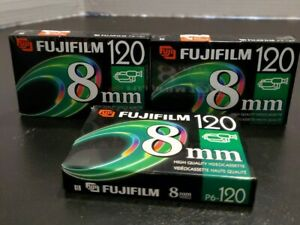 Pack Of 3 Fujifilm 8mm Video Cassette P6-120 Tapes 120 Minute NIB Camcorder tape