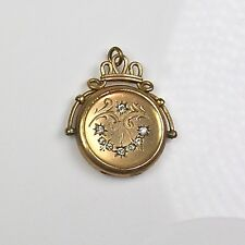 Antique Victorian Gold Filled Locket Charm Fob Crystal Paste Jewels RARE