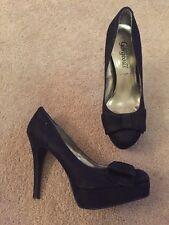 Newlook Black Suede Effect Platform High Heel Court Shoes Bow Uk Size 4 EU 37