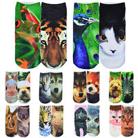 GN- HK- 1 Pairs Men Women Low Cut Ankle Casual Socks Cotton 3D Printed Animals H