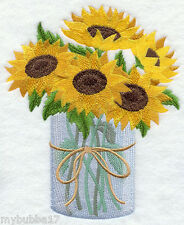 Sunflowers in Mason Jar  SET OF 2 BATH HAND TOWELS EMBROIDERED BY LAURA