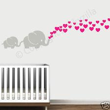 Elephant and Baby w/ Hearts Wall Decal Vinyl Wall Nursery Room Decor Made USA