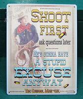 Cowgirl Manual Shoot First funny bar western horse barn gun decor gift TIN SIGN