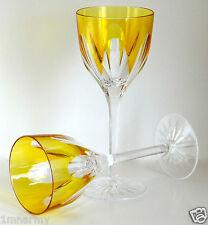 "AJKA REGENCY WINE GLASS GOBLETS 9""H, YELLOW GOLD CASED CRYSTAL"