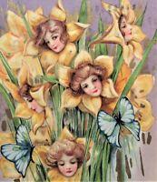 Schmucker Winsch EASTER Fantasy Girls Faces in Flowers Gold Embossed Postcard
