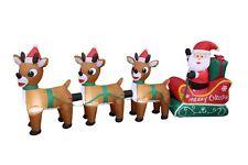 8 Foot Long Christmas LED Inflatable Santa Sleigh Reindeer Yard Party Decoration