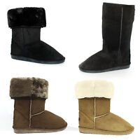GIRLS LADIES SOFT WINTER BOOTIES FUR LINED WOMENS SLIPPERS BOOTS FAUX SUEDE SIZE