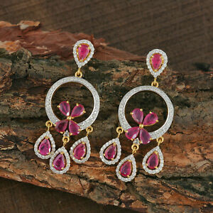 4.12 Ruby Chandelier Engagement & Wedding Dangle Earrings 14K Yellow Gold Plated