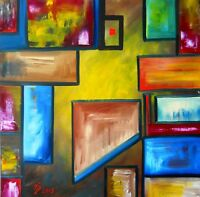 Original painting Oil on canvas 40x40cm CONTEMPORARY ART ABSTRACT CUBISM Pronkin