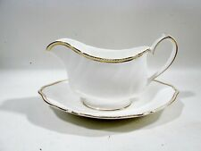 Vtg Wedgwood Bone China Crown Gold Gravy Boat with Underplate