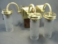 3 Antique Art Deco Brass Wall Sconce Lights Lamps Wheel Cut Satin Glass Shades
