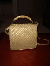 Vintage Bally Lamb Leather Quilted Mini Top Handle Cross Body Purse Tan