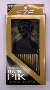 Hair Pik - Eze - Hair Styling Pik, Pick, Short, Black, Lion, Gold Coated, New