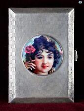 Antique British Art Deco C. Packer & Co. Silver Pictorial Enamel Cigarette Case