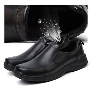 93886 Men Chef Shoes Anti-slip Cook Restaurant Leather Oil Resistant Shoes Black