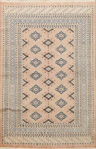 Vintage Traditional Geometric Oriental Area Rug Wool Hand-Knotted 4'x6' Carpet
