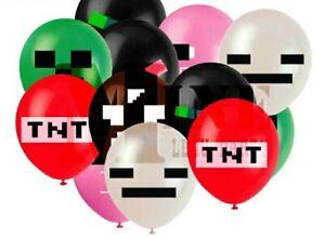 10 x Minecraft Mining Latex Balloons Pixelate Gaming Latex Balloons Party Kids.