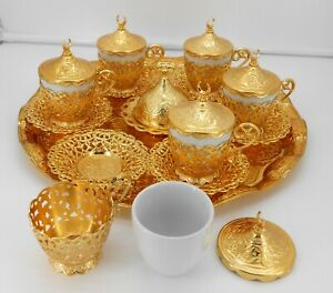 Gold color Set of 6 coffee cups with metal saucer, cup holder, lid & tray.