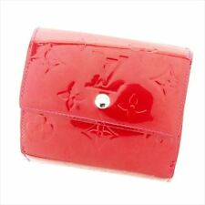 Louis Vuitton Wallet Purse Folding wallet Vernis Red Woman Authentic Used T7032