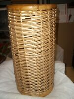 """17-3/4"""" TALL RATTAN WICKER CANE UMBRELLA STAND HOLDER CYLINDER 9"""" DIA OPENING OD"""