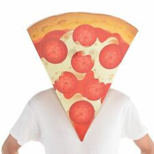 Double Cheese Pepperoni Pizza Slice Funny Face Mask Fancy Dress Accessory