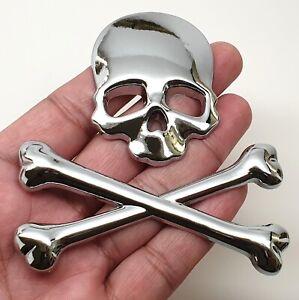 Metal skull skeleton crossbones car motorcycle sticker truck label emblem