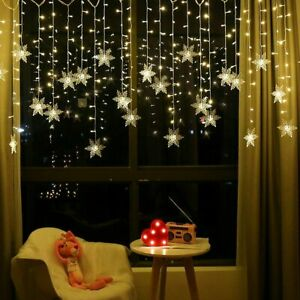 Snowfake Curtain Fairy String Lights USB Twinkle Window Party Wedding wit Remote