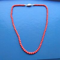 Private Collection Natural  Necklace Vintage Coral Red Italy Ball 5mm to 6mm
