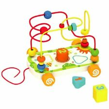 Drag The Wire Car Bead Maze Shape Sorter Wooden Blocks Pull Along Toddler Game