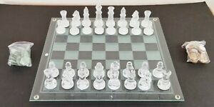 Imperial Crystal Chess Checkers 2 in 1 Game Set Preowned Damaged Box Complete