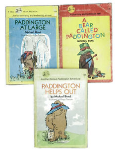 Paddington Books Bear Called Paddington, At Large, Helps Out 3 Vintage Dell 1980