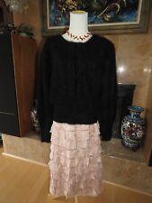 New SEMPLICE SWEATERS 70% Angora Fuzzy Fluffy Black Soft Warm Sweater M-L