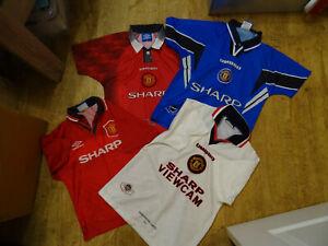 4 x Vintage Manchester united 1994/97 shirt Bundle LB / Youth - FREE P&P