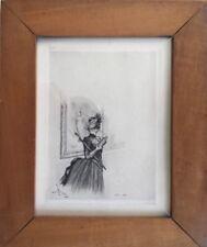 Henri BOUTET 1851-1919.Élégante au musée.Eau-forte pointe sèche.SBG.21x16.