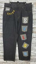 Evisu Mens Jeans Dark Wash Blue Evisu Multiple Patchwork Pockets Size 40