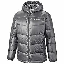Columbia Mens Gold 650 TurboDown Hooded Down Jacket, Large, Graphite