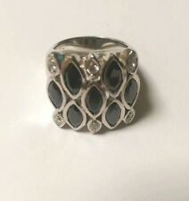 Sterling Silver  Black Cubic Zirconia Square Ring :size 9
