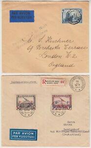 BELGIUM 1930 1st night flight *BRUXELLES-LONDON* & 1936 reg air mail to GERMANY