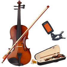 Full Size 4/4 Natural Acoustic Violin Fiddle with Case Bow with Tuner Gift