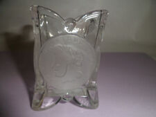 Glass COIN Toothpick Match Holder Clear & Frosted glass
