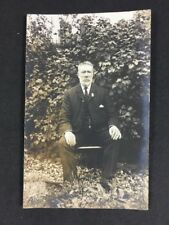 "Vintage Postcard: Anon. Man #B101: Outside With Medal: Unusual Back ""Goodluck"""