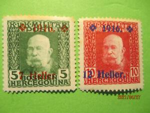 Bosnia-Herz Francis Joseph 1 1916 Surcharge SG 389 & 390 MH.