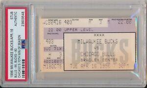 1996 Chicago Bulls 70th Win Ticket Stub PSA Bulls v Bucks 4/16/96 Michael Jordan