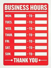 Business Hours Sign 8 X 12 Inch 2 Count White And Red