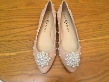 KATY PERRY THE LADY SUEDE/PEARLS FLAT SHOES NEW SIZE 9