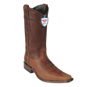 Men's Wild West Genuine Rage Leather Western Boots Narrow Square Toe