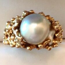 Custom Designed South Seas Baroque Pearl Ring 14K Solid Yellow Gold Size 6